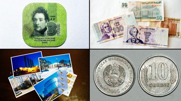 Od lewej: żetony zamiast pieniędzy - duma Naddniestrza, naddniestrzańskie ruble, pocztówki i kopiejki
